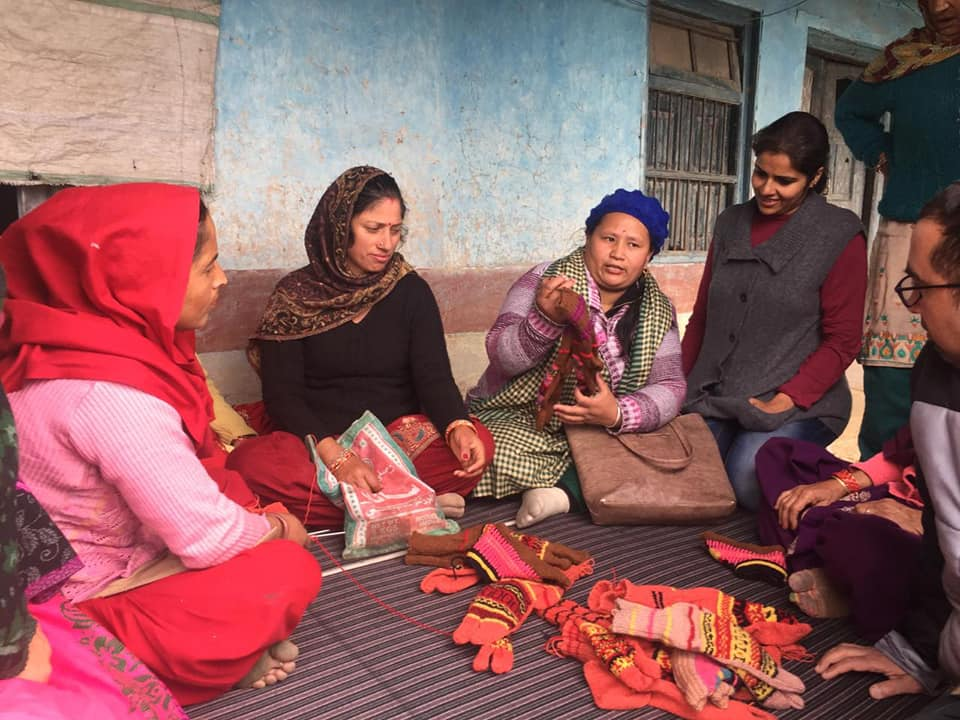 Shobha didi with village women of the hand knit woollen clothes program