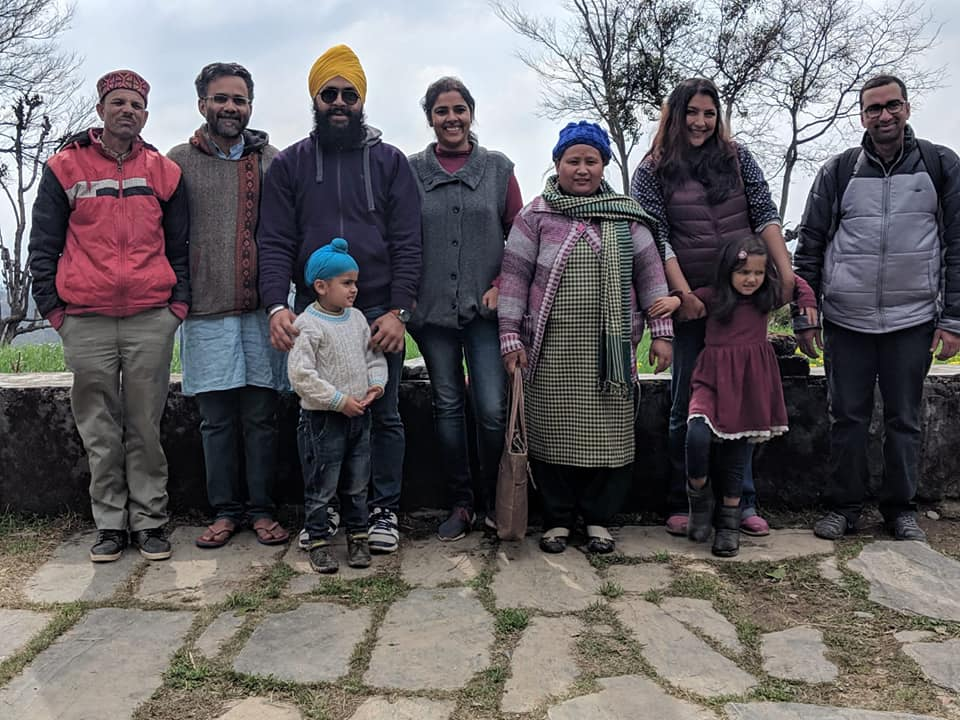 Surinder bhaiya on left, Ayush second from left, Shobha didi fifth from left, joined by Prabhjeet's family from Mool foundation and other homeschooling parents in Dharamsala